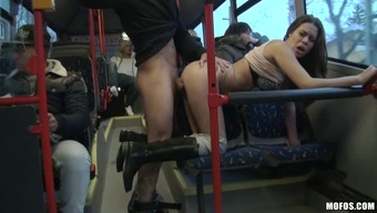 Hard sexual intercourse within a community public bus for your attractive Bonnie