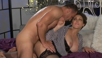 Mum Business office female in stockings likes steel solid joystick deep down her