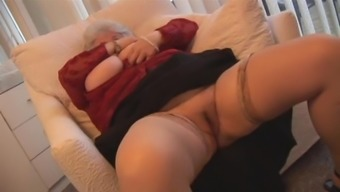 Granny by using huge boobs stripping and publicizing