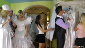 Remarkably horny soon to be bride succumbs to effectively hardcore fucking with the wearing your clothes room on the wedding ceremony early morning