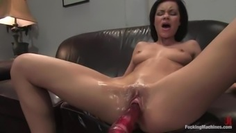 Ruby Knox receives a great peak while riding a fucking machine