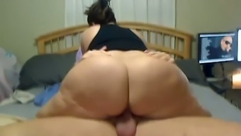 Plus-size woman wife riding large dick inside a cowgirl position until I populate her vag with the use of cum