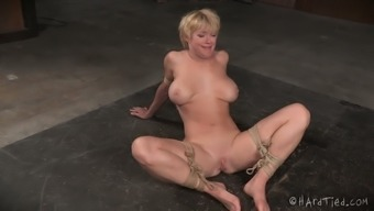Bound big boobed blonde girl Dear had dirty intercourse with the use of black BDSM grasp