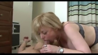 Naughty mother fucks her son's friend