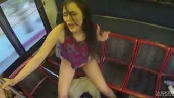 Stained bitch is fucking upskirt inside a community public bus correct in front side of other guests