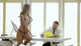 Luscious babe in sexy lingerie Alexis Adams seduces her workaholic