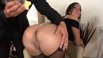 A warm maid gets her booty oiled over and crushed by her chief