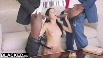 BLACKED Warm Megan Rainwater Gets DP'd By Her Calories Papa and his awesome Friend
