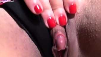 Open Girl Body builder in Face covering Large Clit