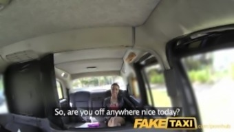 FakeTaxi Taxi car driver gets blessed 2 times by using really sizzling dame
