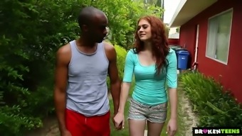 Pallid bright redhead Alice Green goes interracial right outdoors to be fucked well