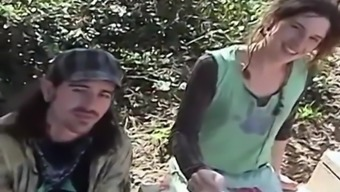Real amateur hippie couple fucking in public