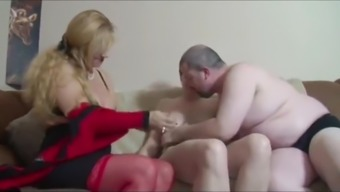 hubby with small cock fucks mature neighbor in front of wife