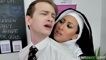 Wicked nun Lily Lane arranges a threesome at home and that woman is crazy hot