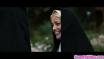 Two horny sinful nuns cant help licking each others pussy